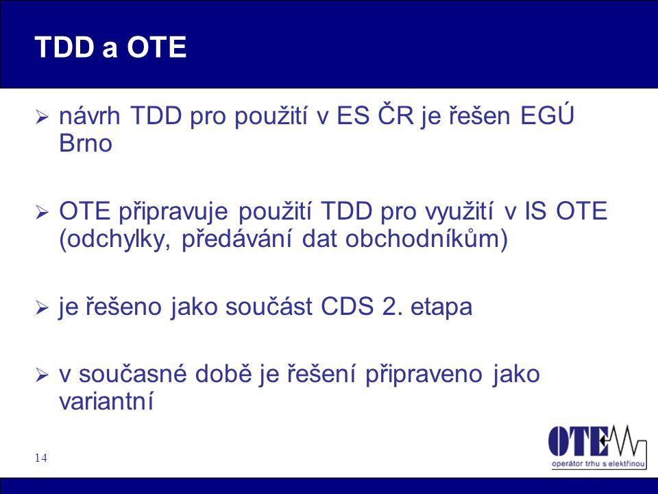 14 TDD a OTE  návrh TDD pro použití v ES ČR je řešen EGÚ Brno  OTE připravuje použití TDD pro využití v IS OTE (odchylky, předávání dat obchodníkům)