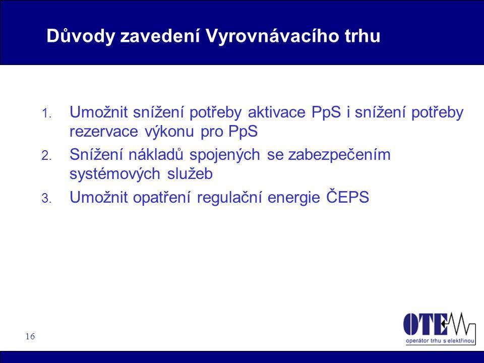 16 Důvody zavedení Vyrovnávacího trhu 1. Umožnit snížení potřeby aktivace PpS i snížení potřeby rezervace výkonu pro PpS 2. Snížení nákladů spojených