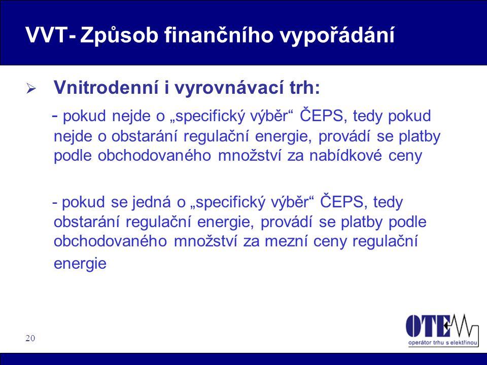 """20 VVT- Způsob finančního vypořádání  Vnitrodenní i vyrovnávací trh: - pokud nejde o """"specifický výběr"""" ČEPS, tedy pokud nejde o obstarání regulační"""