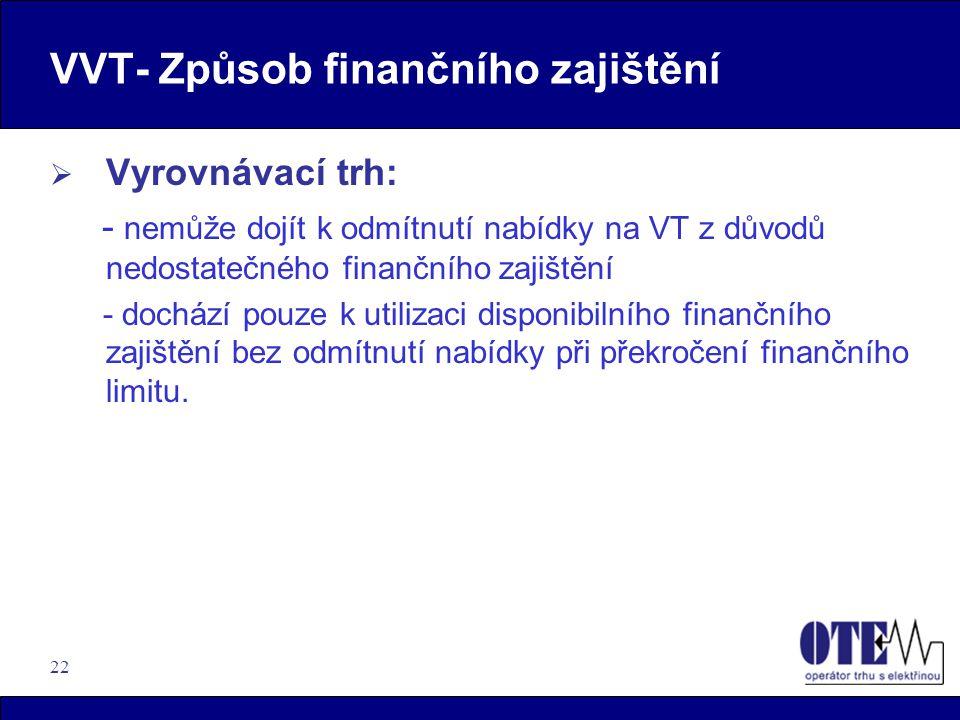 22 VVT- Způsob finančního zajištění  Vyrovnávací trh: - nemůže dojít k odmítnutí nabídky na VT z důvodů nedostatečného finančního zajištění - dochází
