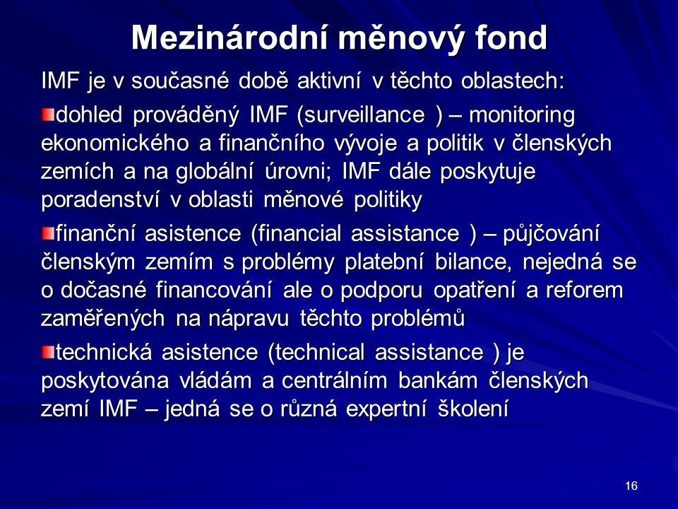 Mezinárodní měnový fond IMF je v současné době aktivní v těchto oblastech: dohled prováděný IMF (surveillance ) – monitoring ekonomického a finančního