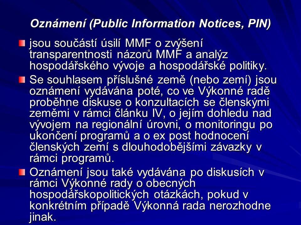 Oznámení (Public Information Notices, PIN) jsou součástí úsilí MMF o zvýšení transparentnosti názorů MMF a analýz hospodářského vývoje a hospodářské p