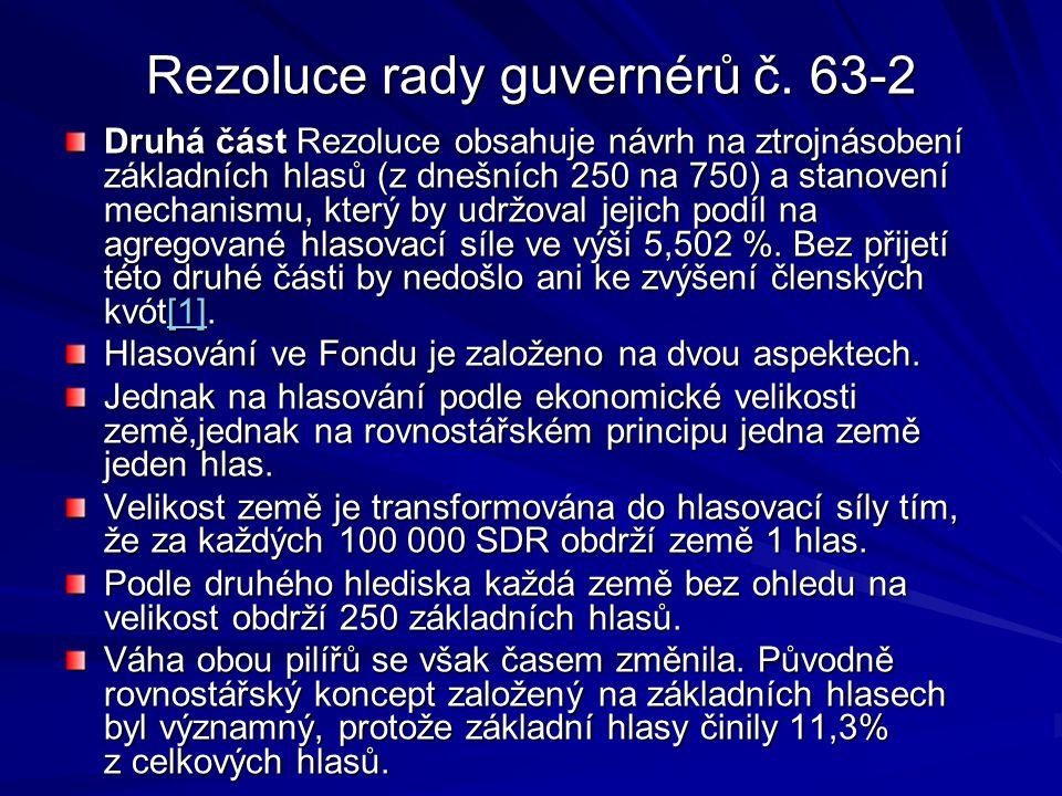 Rezoluce rady guvernérů č. 63-2 Druhá část Rezoluce obsahuje návrh na ztrojnásobení základních hlasů (z dnešních 250 na 750) a stanovení mechanismu, k