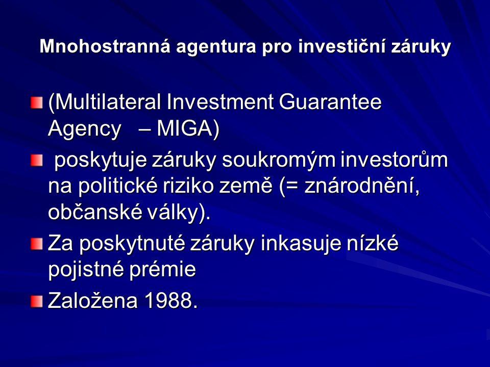 Mnohostranná agentura pro investiční záruky (Multilateral Investment Guarantee Agency – MIGA) poskytuje záruky soukromým investorům na politické rizik