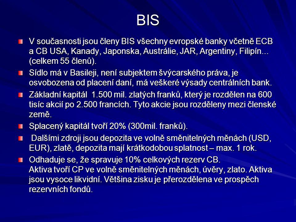 BIS V současnosti jsou členy BIS všechny evropské banky včetně ECB a CB USA, Kanady, Japonska, Austrálie, JAR, Argentiny, Filipín... (celkem 55 členů)