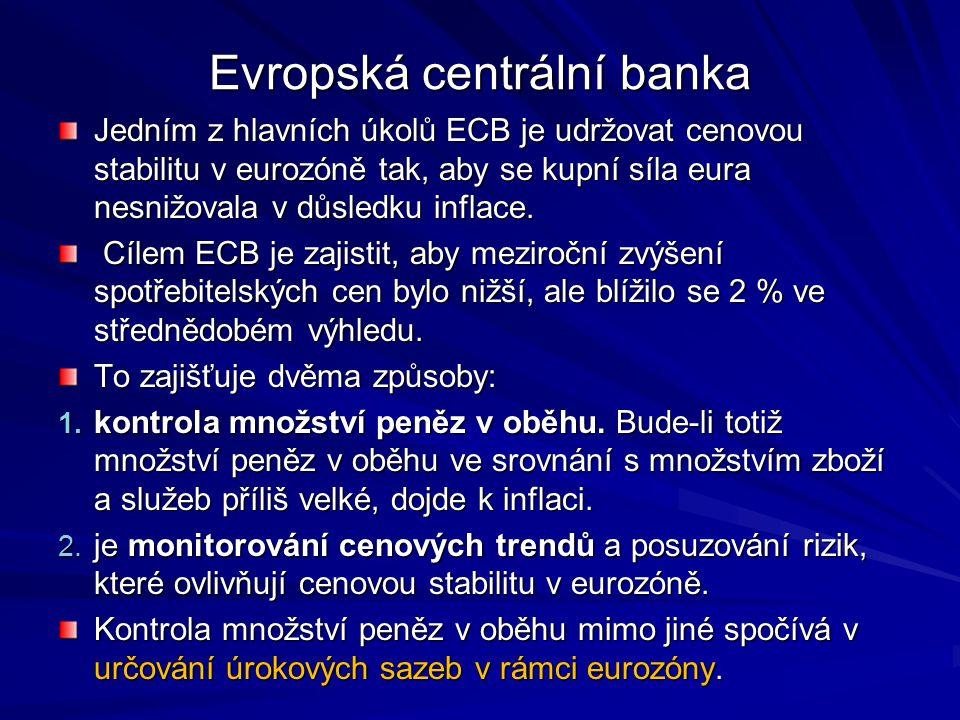 Evropská centrální banka Jedním z hlavních úkolů ECB je udržovat cenovou stabilitu v eurozóně tak, aby se kupní síla eura nesnižovala v důsledku infla