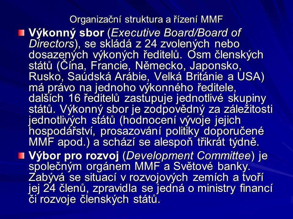 Organizační struktura a řízení MMF Výkonný sbor (Executive Board/Board of Directors), se skládá z 24 zvolených nebo dosazených výkoných ředitelů. Osm
