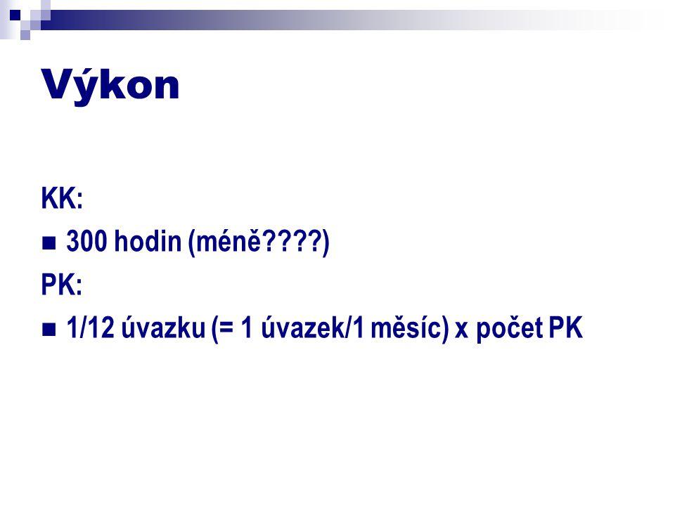 Výkon KK: 300 hodin (méně????) PK: 1/12 úvazku (= 1 úvazek/1 měsíc) x počet PK