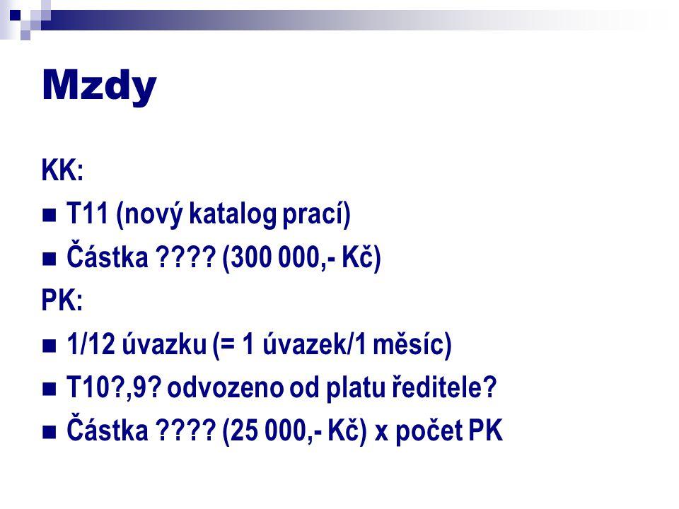 Mzdy KK: T11 (nový katalog prací) Částka ???.