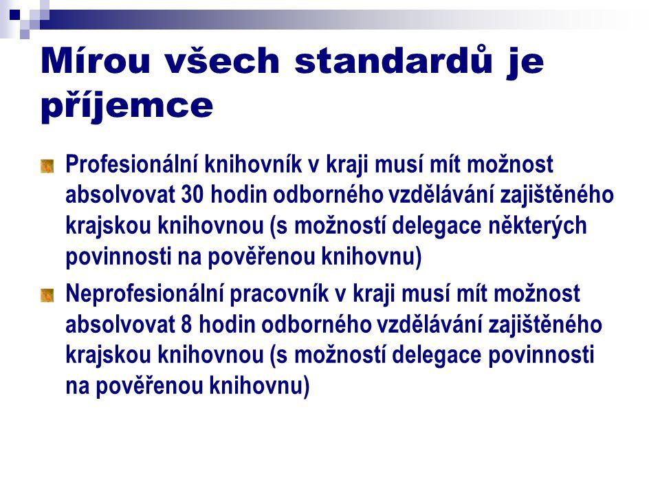 Mírou všech standardů je příjemce Profesionální knihovník v kraji musí mít možnost absolvovat 30 hodin odborného vzdělávání zajištěného krajskou knihovnou (s možností delegace některých povinnosti na pověřenou knihovnu) Neprofesionální pracovník v kraji musí mít možnost absolvovat 8 hodin odborného vzdělávání zajištěného krajskou knihovnou (s možností delegace povinnosti na pověřenou knihovnu)
