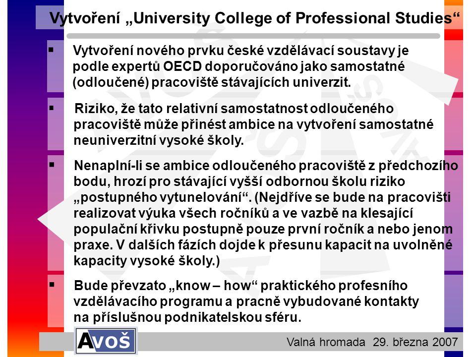 """AVOŠ Valná hromada 29. března 2007 Vytvoření """"University College of Professional Studies""""  Vytvoření nového prvku české vzdělávací soustavy je podle"""