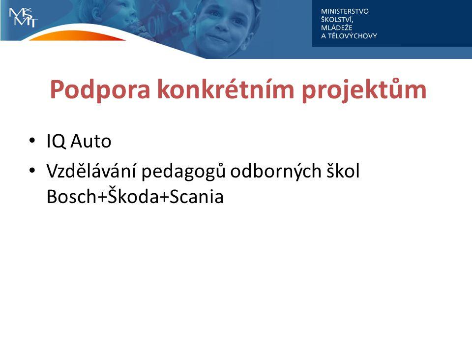 Podpora konkrétním projektům IQ Auto Vzdělávání pedagogů odborných škol Bosch+Škoda+Scania