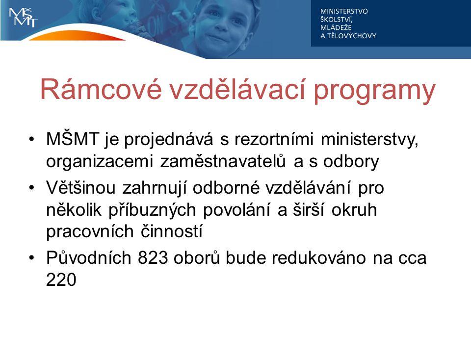 Rámcové vzdělávací programy MŠMT je projednává s rezortními ministerstvy, organizacemi zaměstnavatelů a s odbory Většinou zahrnují odborné vzdělávání pro několik příbuzných povolání a širší okruh pracovních činností Původních 823 oborů bude redukováno na cca 220