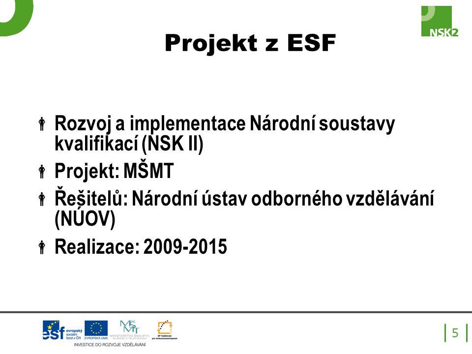 Projekt z ESF  Rozvoj a implementace Národní soustavy kvalifikací (NSK II)  Projekt: MŠMT  Řešitelů: Národní ústav odborného vzdělávání (NÚOV)  Realizace: 2009-2015 5