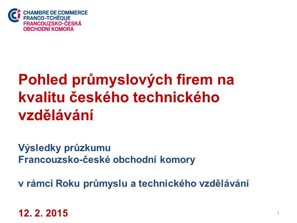 O průzkumu Průzkum realizovala Francouzsko-česká obchodní komora v listopadu a prosinci 2014 Vzorek 200 průmyslových podniků malé a střední velikosti (11 – 249 zaměstnanců dle Asociace MSP) Respondenti: majitelé, ředitelé nebo jednatelé firem nebo osoby, které zodpovídají za nábor nových zaměstnanců Sběr dat: TNS Aisa 2