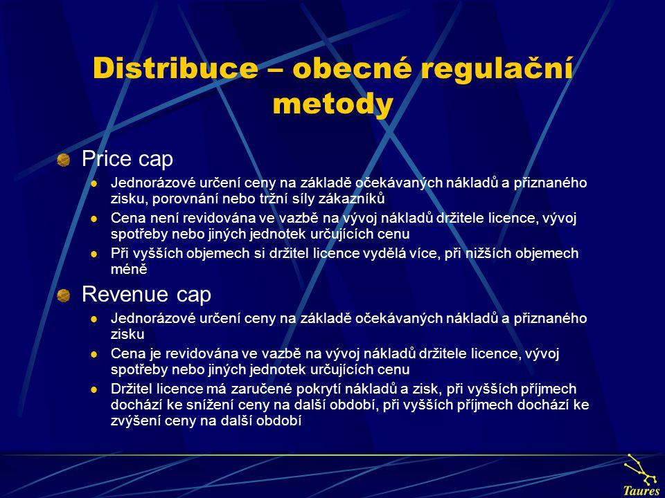 Distribuce – obecné regulační metody Price cap Jednorázové určení ceny na základě očekávaných nákladů a přiznaného zisku, porovnání nebo tržní síly zá