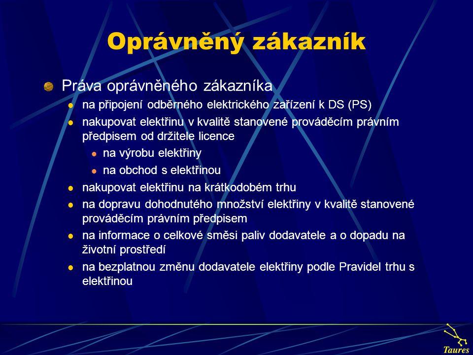 Oprávněný zákazník Práva oprávněného zákazníka na připojení odběrného elektrického zařízení k DS (PS) nakupovat elektřinu v kvalitě stanovené prováděc