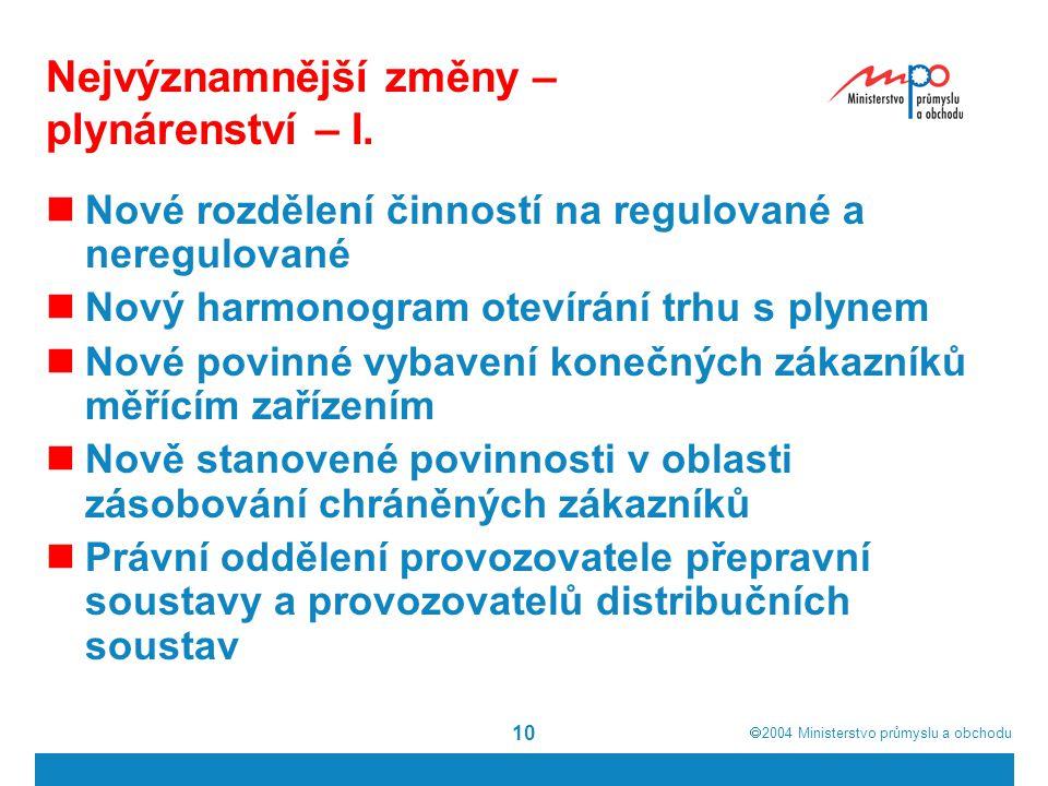  2004  Ministerstvo průmyslu a obchodu 10 Nejvýznamnější změny – plynárenství – I. Nové rozdělení činností na regulované a neregulované Nový harmon