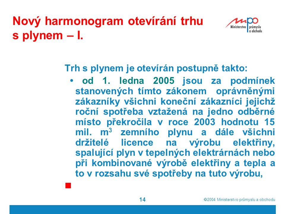  2004  Ministerstvo průmyslu a obchodu 14 Nový harmonogram otevírání trhu s plynem – I. Trh s plynem je otevírán postupně takto: od 1. ledna 2005 j