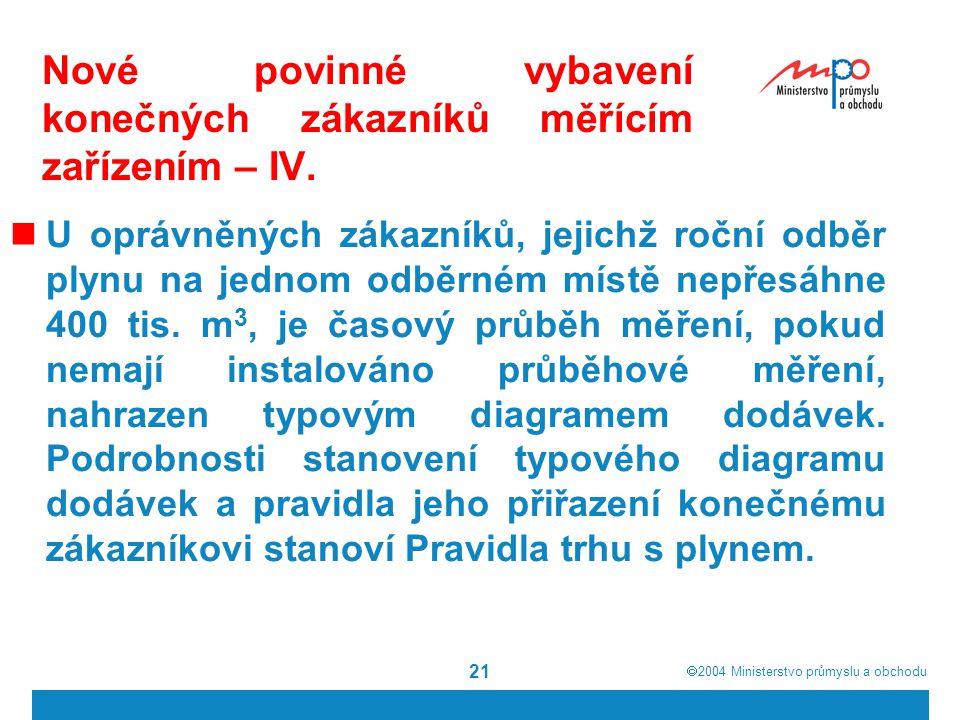  2004  Ministerstvo průmyslu a obchodu 21 Nové povinné vybavení konečných zákazníků měřícím zařízením – IV.