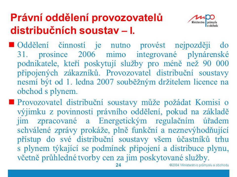  2004  Ministerstvo průmyslu a obchodu 24 Právní oddělení provozovatelů distribučních soustav – I.