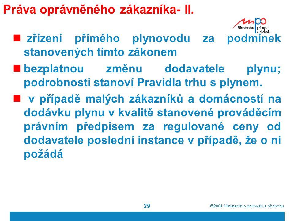  2004  Ministerstvo průmyslu a obchodu 29 Práva oprávněného zákazníka- II.