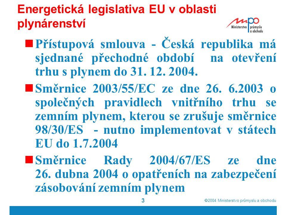  2004  Ministerstvo průmyslu a obchodu 3 Energetická legislativa EU v oblasti plynárenství Přístupová smlouva - Česká republika má sjednané přechodné období na otevření trhu s plynem do 31.