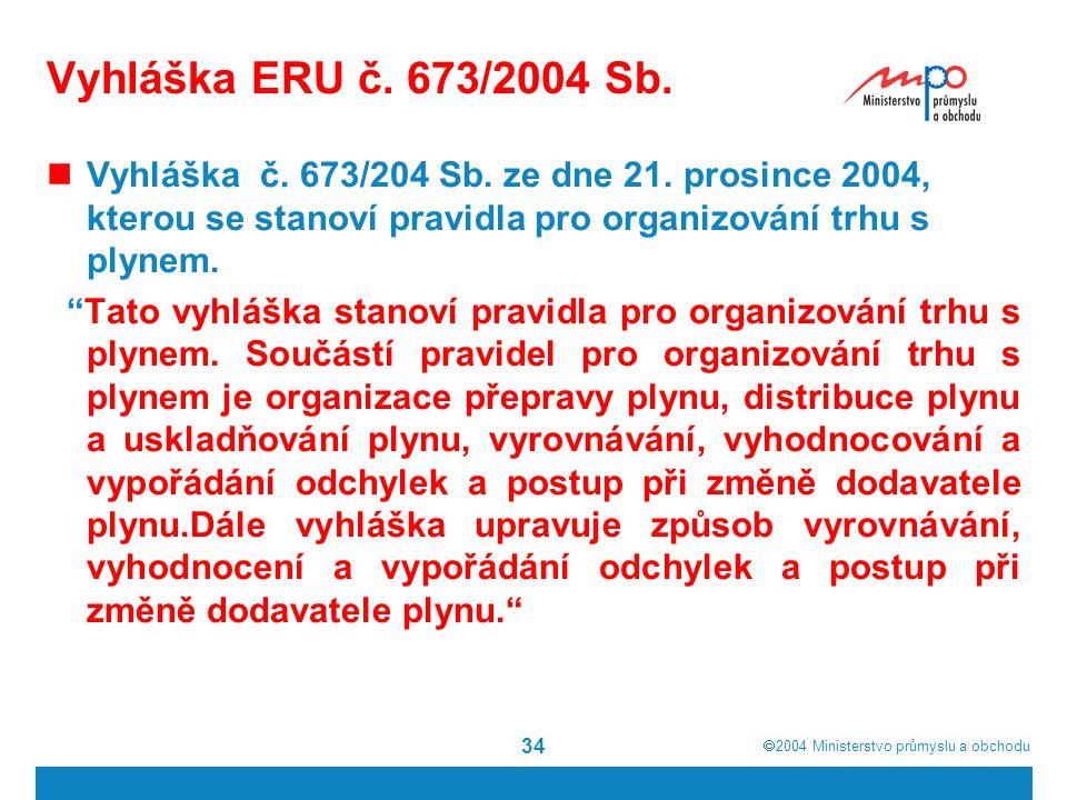  2004  Ministerstvo průmyslu a obchodu 34 Vyhláška ERU č. 673/2004 Sb. Vyhláška č. 673/204 Sb. ze dne 21. prosince 2004, kterou se stanoví pravidla