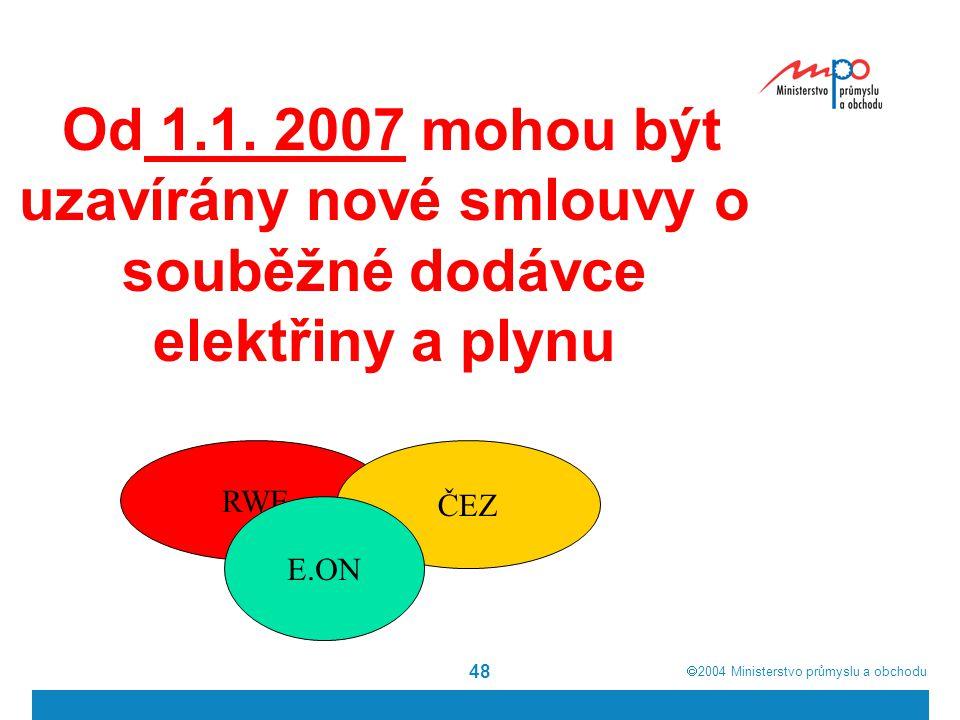  2004  Ministerstvo průmyslu a obchodu 48 Od 1.1. 2007 mohou být uzavírány nové smlouvy o souběžné dodávce elektřiny a plynu RWE ČEZ E.ON