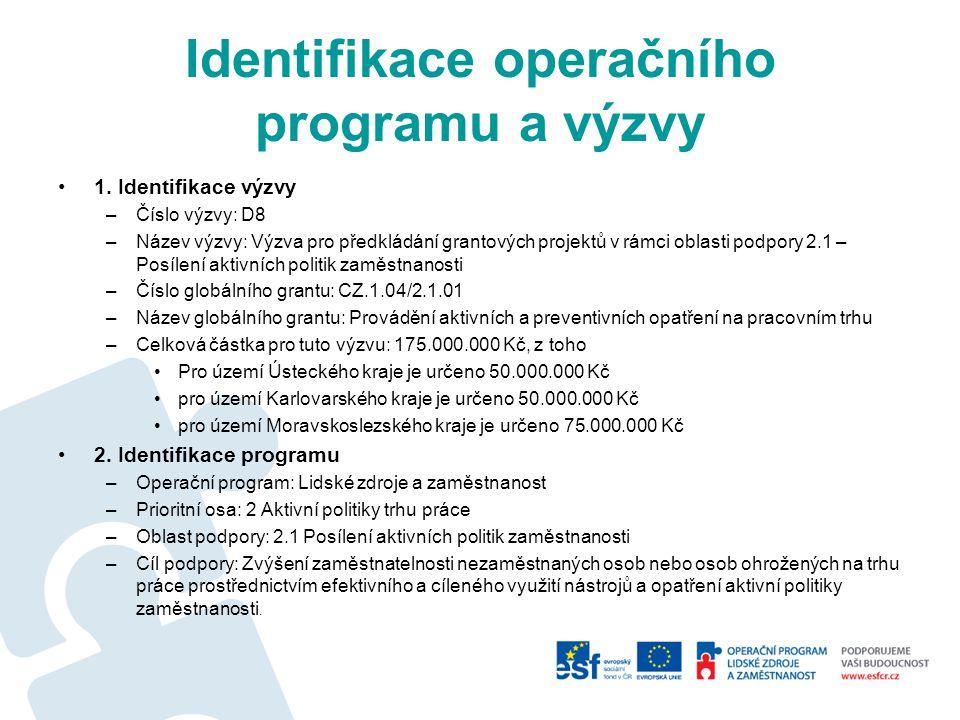 Identifikace operačního programu a výzvy 1.