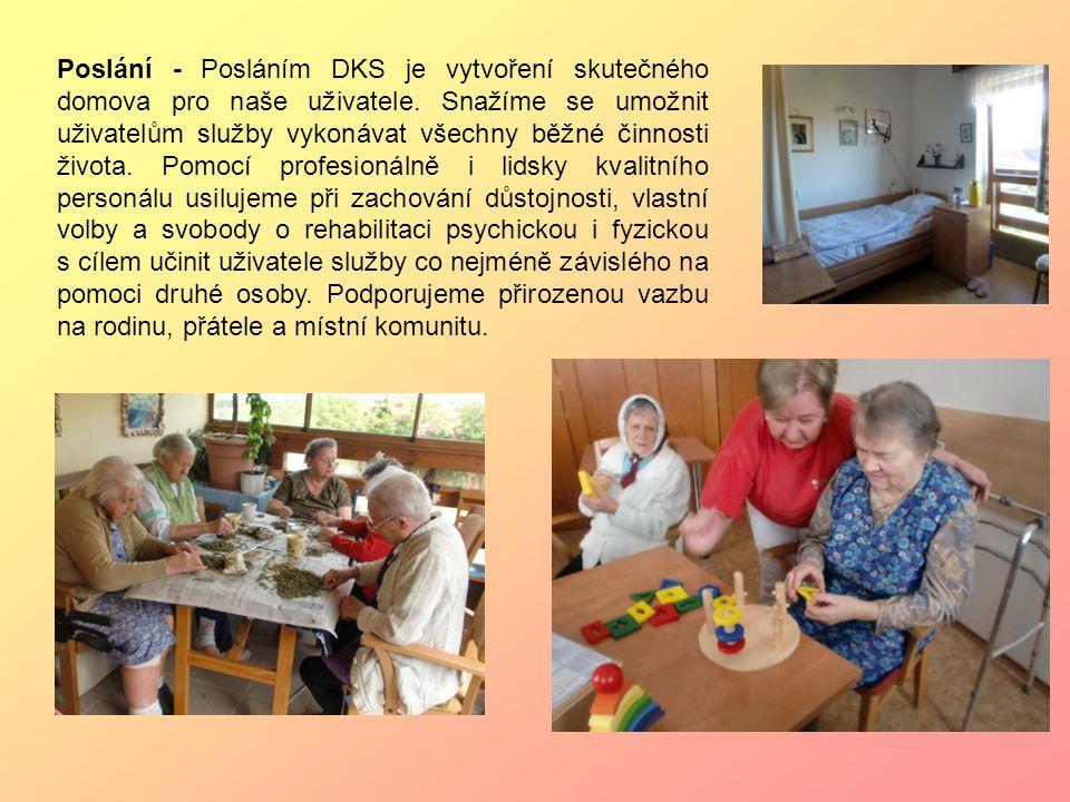 Poslání - Posláním DKS je vytvoření skutečného domova pro naše uživatele. Snažíme se umožnit uživatelům služby vykonávat všechny běžné činnosti života
