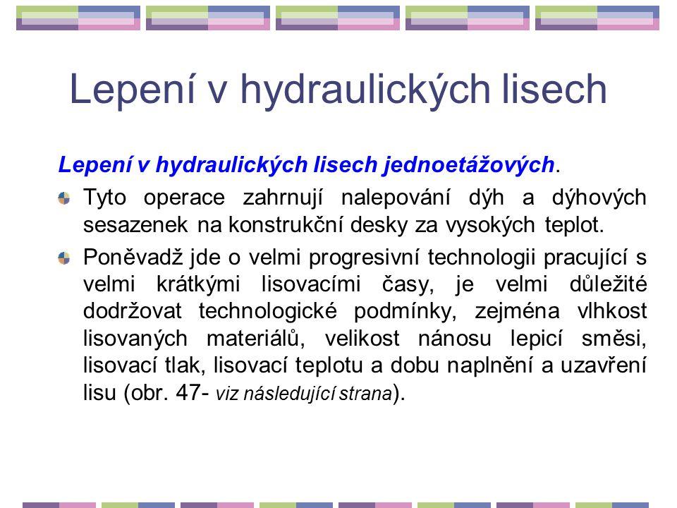 Lepení v hydraulických lisech Tab. 21 Lisovací teploty a základní doby vytvrzování jednotlivých lepidel při lepení za zvýšené teploty