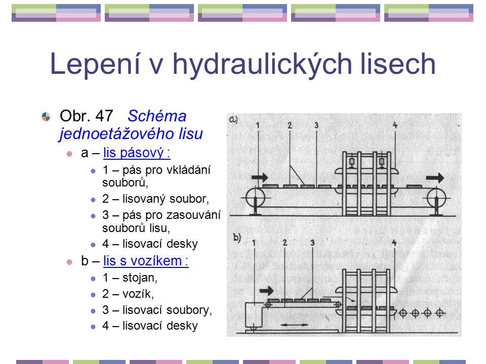 Lepení v hydraulických lisech Lepení v hydraulických lisech jednoetážových. Tyto operace zahrnují nalepování dýh a dýhových sesazenek na konstrukční d