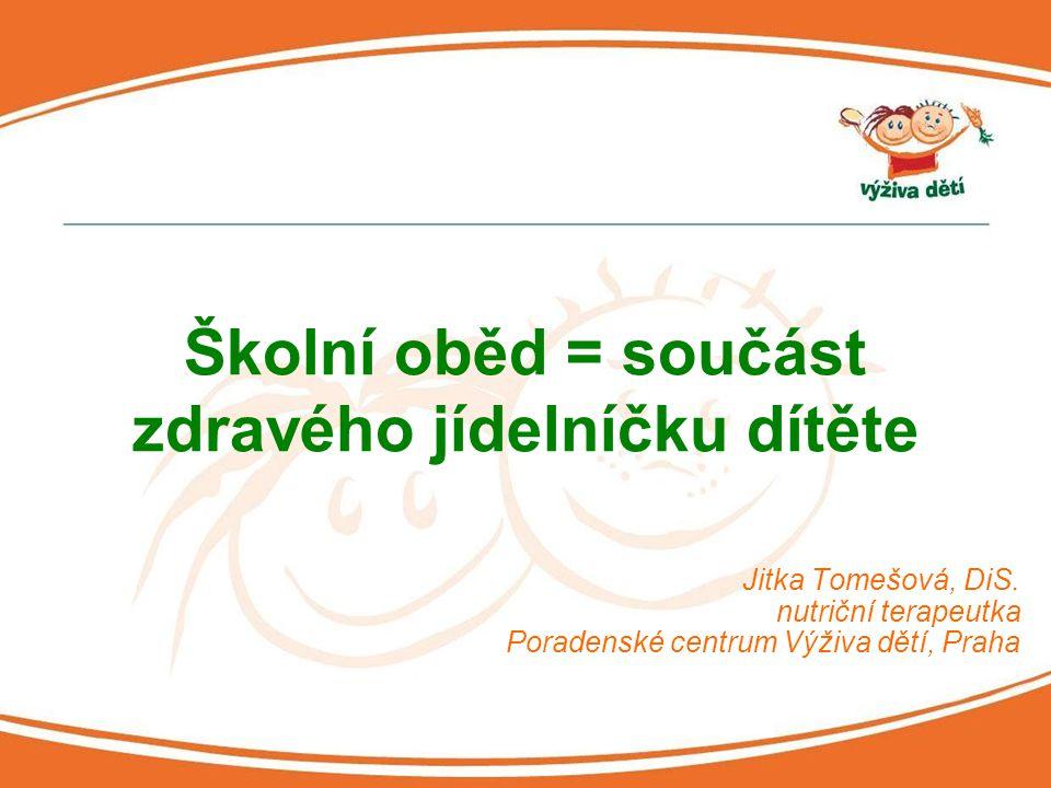 Jitka Tomešová, DiS. nutriční terapeutka Poradenské centrum Výživa dětí, Praha Školní oběd = součást zdravého jídelníčku dítěte