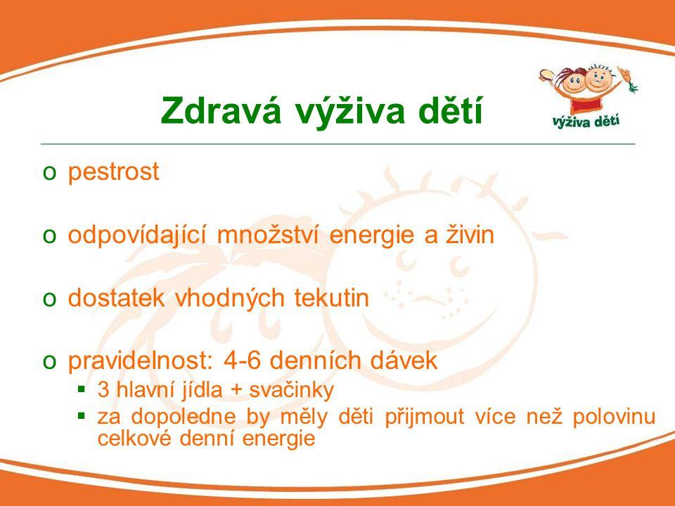 Zdravá výživa dětí opestrost oodpovídající množství energie a živin odostatek vhodných tekutin opravidelnost: 4-6 denních dávek  3 hlavní jídla + sva