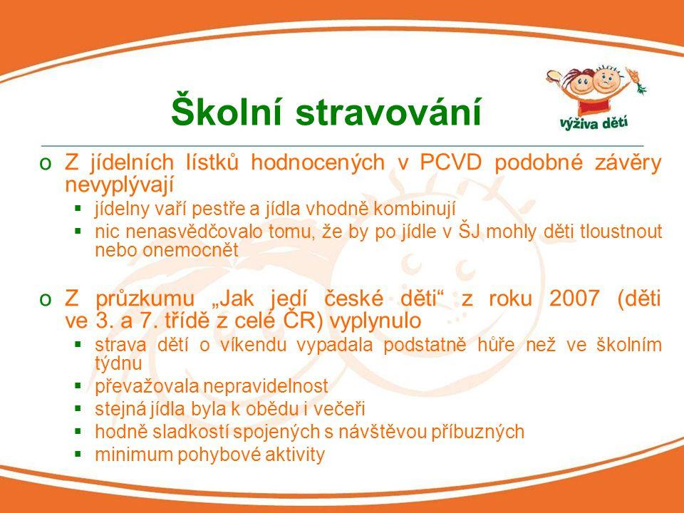 """Školní stravování oZ jídelních lístků hodnocených v PCVD podobné závěry nevyplývají  jídelny vaří pestře a jídla vhodně kombinují  nic nenasvědčovalo tomu, že by po jídle v ŠJ mohly děti tloustnout nebo onemocnět oZ průzkumu """"Jak jedí české děti z roku 2007 (děti ve 3."""