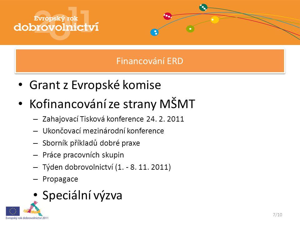 7/10 Financování ERD Grant z Evropské komise Kofinancování ze strany MŠMT – Zahajovací Tisková konference 24.