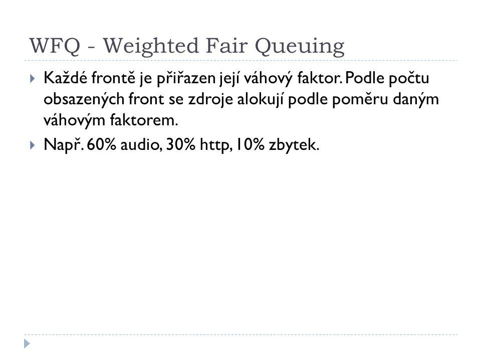 WFQ - Weighted Fair Queuing  Každé frontě je přiřazen její váhový faktor.