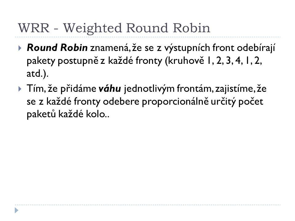 WRR - Weighted Round Robin  Round Robin znamená, že se z výstupních front odebírají pakety postupně z každé fronty (kruhově 1, 2, 3, 4, 1, 2, atd.).