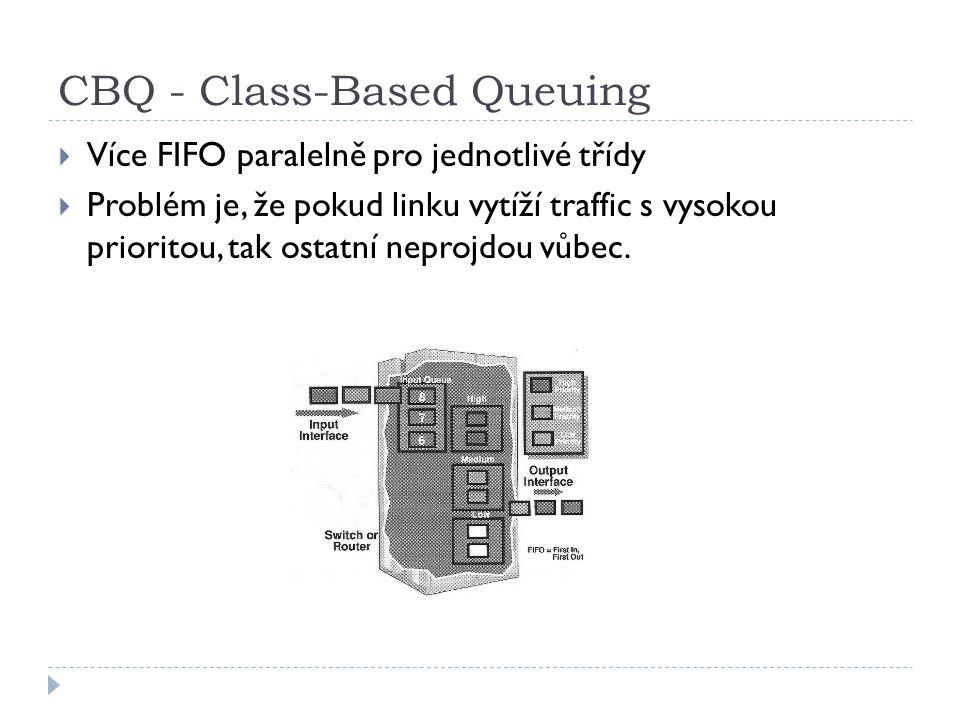 CBQ - Class-Based Queuing  Více FIFO paralelně pro jednotlivé třídy  Problém je, že pokud linku vytíží traffic s vysokou prioritou, tak ostatní neprojdou vůbec.