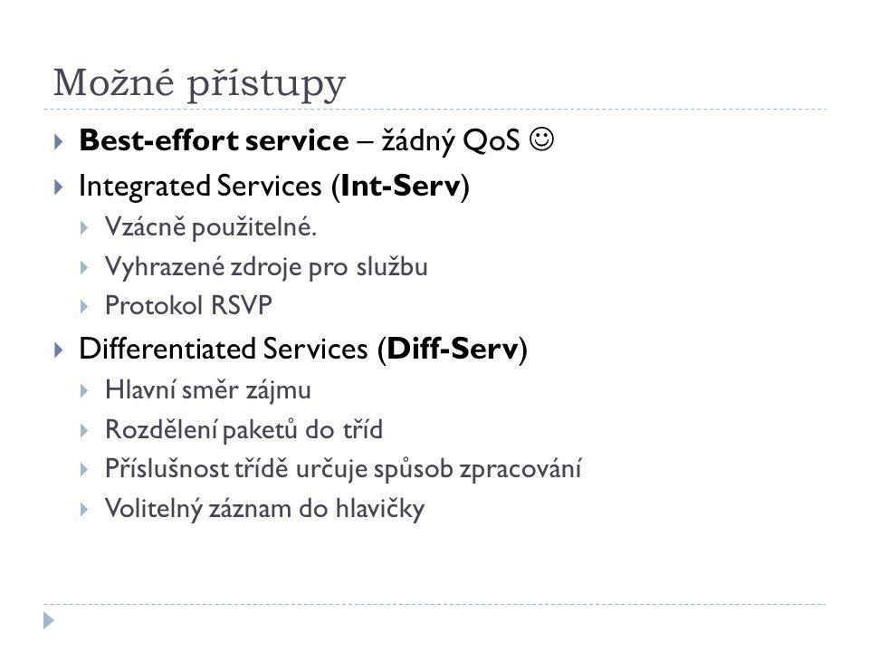Možné přístupy  Best-effort service – žádný QoS  Integrated Services (Int-Serv)  Vzácně použitelné.