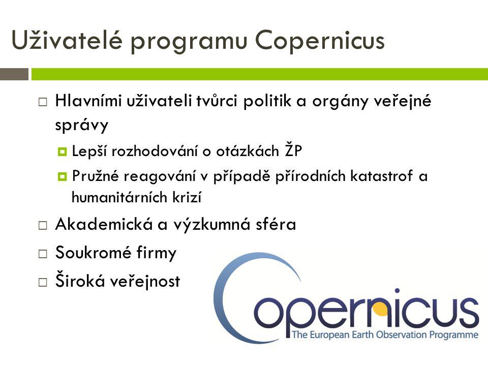 Uživatelé programu Copernicus  Hlavními uživateli tvůrci politik a orgány veřejné správy  Lepší rozhodování o otázkách ŽP  Pružné reagování v přípa