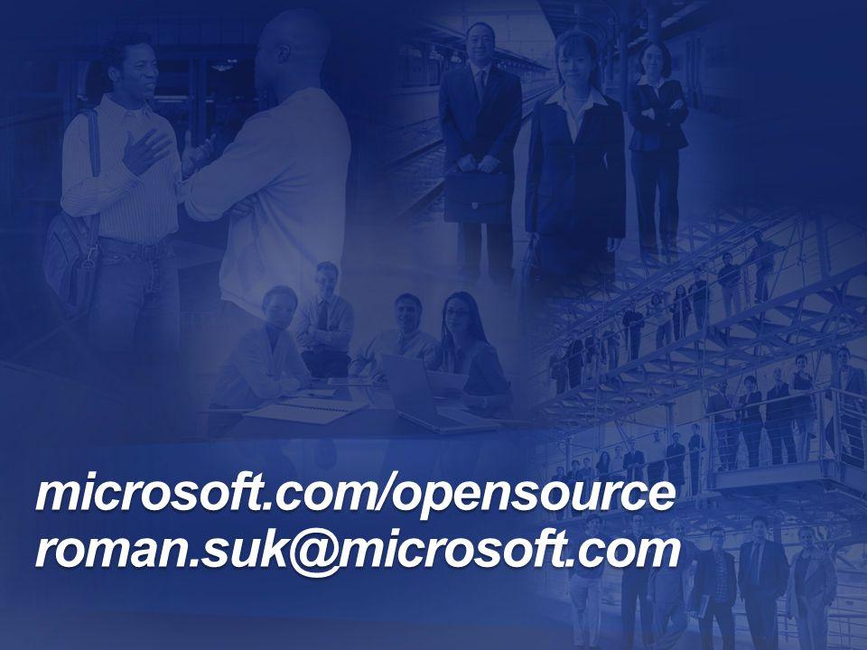 microsoft.com/opensource roman.suk@microsoft.com