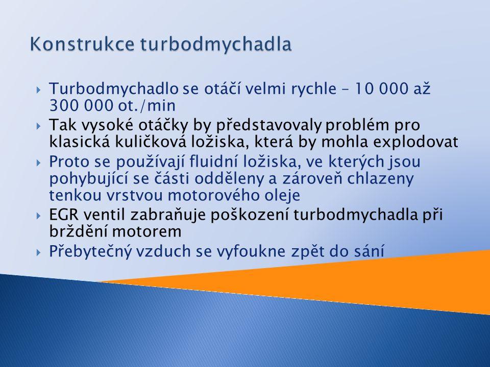  Turbodmychadlo se otáčí velmi rychle – 10 000 až 300 000 ot./min  Tak vysoké otáčky by představovaly problém pro klasická kuličková ložiska, která