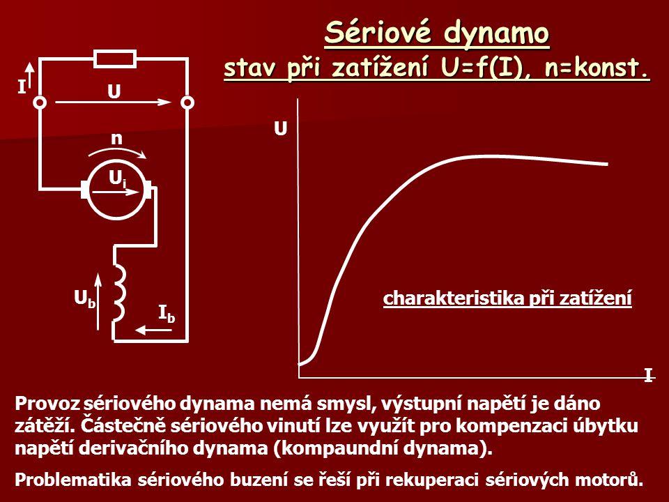 Sériové dynamo stav při zatížení U=f(I), n=konst. charakteristika při zatížení U I Provoz sériového dynama nemá smysl, výstupní napětí je dáno zátěží.