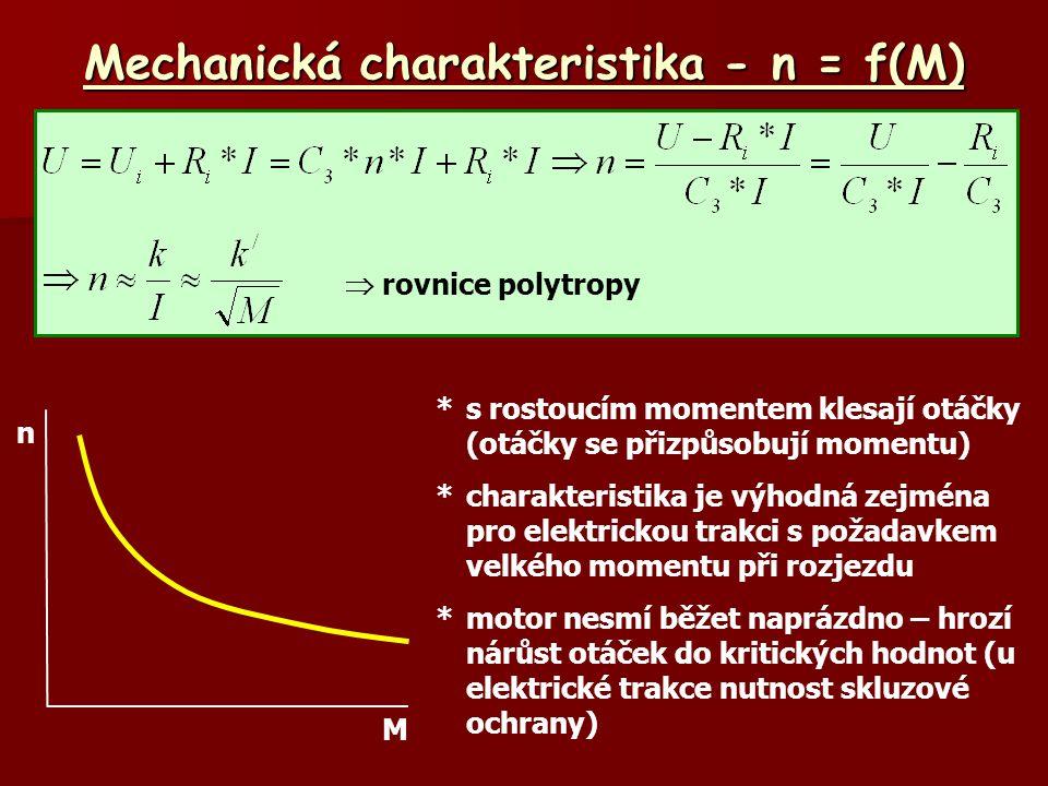 Mechanická charakteristika - n = f(M) n M *s rostoucím momentem klesají otáčky (otáčky se přizpůsobují momentu) *charakteristika je výhodná zejména pr
