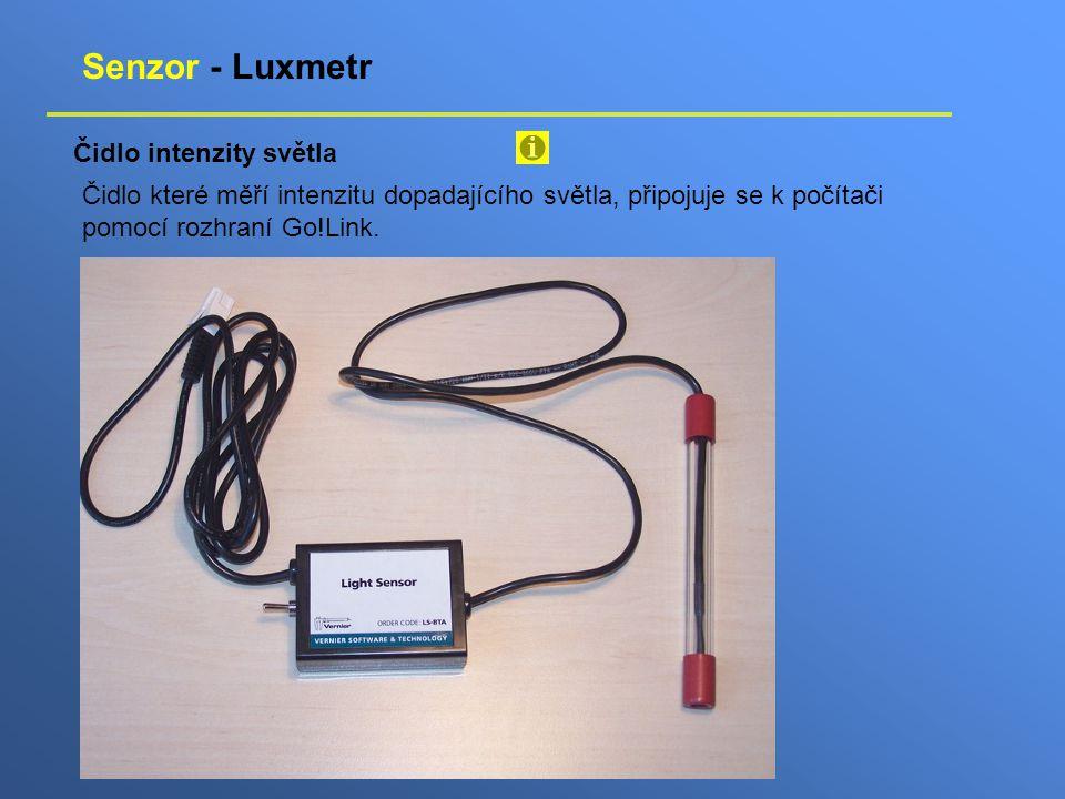 Senzor - Luxmetr Čidlo intenzity světla Čidlo které měří intenzitu dopadajícího světla, připojuje se k počítači pomocí rozhraní Go!Link.