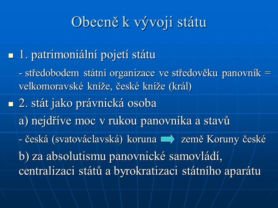 Obecně k vývoji státu 1. patrimoniální pojetí státu 1. patrimoniální pojetí státu - středobodem státní organizace ve středověku panovník = velkomoravs