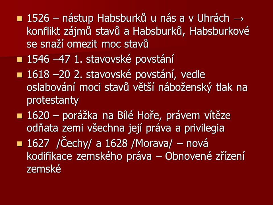 Obnovené zřízení zemské Právní zakotvení absolutismu Zákonodárnou moc má výhradně panovník /ius legis ferrendae/ Zákonodárná iniciativa sněmů bude považována za zločin Panovník je nad všemi soudy, může kohokoliv vyjmout z jejich jurisdikce Náboženství je výlučně katolické Omezena moc stavů, nejvýznamnějším se stává duchovenstvo, všechny královská města mají dohromady jeden hlas Obyčej a soudní nález zrušeny jako prameny práva Pramenem práva je pouze tento zákoník či jeho doplnění, subsidiárně Koldínova kodifikace městského práva Prosazení římského práva do práva zemského, zejména v podobě římsko- kanonického procesu