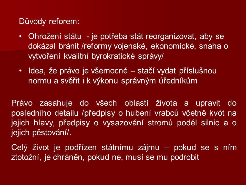 Důvody reforem: Ohrožení státu - je potřeba stát reorganizovat, aby se dokázal bránit /reformy vojenské, ekonomické, snaha o vytvoření kvalitní byrokr